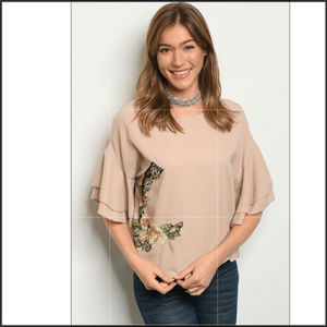 Tops - ✌️Left🆑🔖Taupe Blouse Embroidered short sleeve